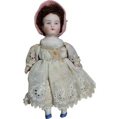 Small German Bisque Head Miniature Dollhouse Size Doll from dollsandsmalls on Ruby Lane