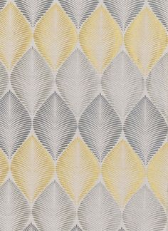 Leaf Fall Woven Curtain Fabric A woven silk mix fabric with leaf silhouettes in a uniform pattern creating a striking fabric, in primrose yellow, silver and grey on a neutral background.