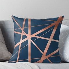 'Navy and Copper Luxe' Throw Pillow by UrbanEpiphany Navy Copper Bedroom, Blue And Copper Living Room, Copper Decor Living Room, Copper And Grey, Living Room Decor Pillows, Blue Bedroom, Uni Bedroom, Navy Bedrooms, Navy Living Rooms