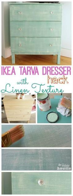 Ikea Hack Tarva Dresser with Faux Painted Linen Texture - transform a cheap and unfinished IKEA TARVA dresser into a cute feature piece at The Happy Housie by corrine