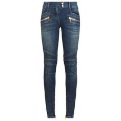 Balmain Classic Biker Jeans ($950) ❤ liked on Polyvore featuring jeans, pants, bottoms, skinny fit jeans, skinny biker jeans, balmain, leather biker jeans and blue jeans