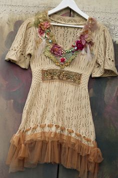 Cream tunic with florals , tattered laces, shabby chic, whimsy bohemian , reworked by FleursBoheme on Etsy https://www.etsy.com/au/listing/548625510/cream-tunic-with-florals-tattered-laces