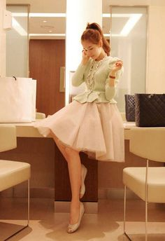 Sweet Style Ruffled Multilayer High Waist Solid Color Mesh Women's Bubble Tulle Skirt