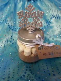 "Hot Chocolate favors at my daughter's Winter Wonderland 1st Birthday Party! Baby food jar, glue snowflake on top with note reading ""Thanks SNOW much for coming!"""