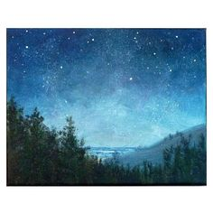 Night sky small stars landscape painting 8x10, astronomy, starry night ❤ liked on Polyvore featuring home, home decor, wall art, acrylic wall art, acrylic painting, star wall art, landscape painting and star home decor