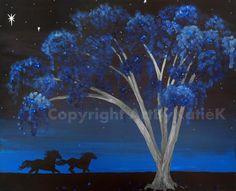 Horses Freedom Tree Surreal 16x20 large print of by ArtByKatieK, $42.75