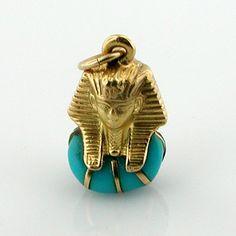 18K Gold King Tut Tutankhamun Vintage 3D Charm Pendant