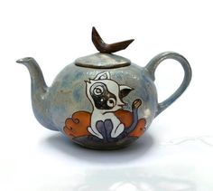 Teapot Cat Ceramic Teapot Pottery Teapot Clay by MMceramicdesign
