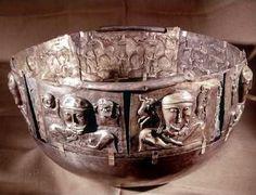 Gundestrup Cauldron from Denmark with Celtic figures on the outside; Irish Bronze Cauldron, c. 600 B.C.