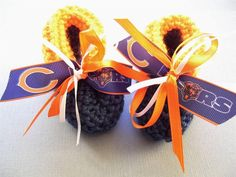 BEARS Football Fans!!!  Handmade Delicate Baby Booties, Chicago