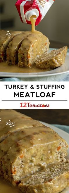 Turkey and stuffing meatloaf recipe - great for a fall dinner! - Turkey and stuffing meatloaf recipe – great for a fall dinner! Fall Dinner Recipes, Fall Recipes, Holiday Recipes, Fall Meals, Turkey Dinner Ideas, Easy Thanksgiving Dinner, Thanksgiving Casserole, Turkey Casserole, Thanksgiving Desserts