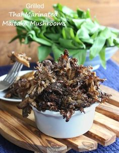 Grilled Thai Marinated Maitake Mushrooms glisten with a flavorful Asian marinade. One of the best sides for the grill or grill pan. You will be amazed!