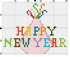 Quick and Easy Happy New Year Free Needlepoint Design: Day 1 of 365 Needlepoint New Year's Resolutions Challenge