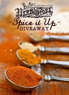 Giveaway: Spice It Up   Bulk Herb Store Blog   Come enter for a chance to win 6 bags of spices to take your meals to the next level this week on the BHS blog!