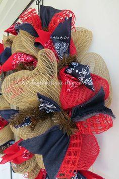 Bandana Western Burlap Wreath by SaturdaysBoutique on Etsy