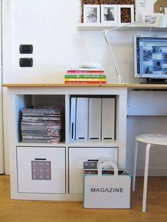 Francesca's home: magazines, binders and writing stuff