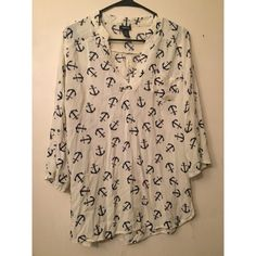 white anchor shirt white anchor shirt, there is a small rip, but it is not visible through the back of the shirt. Rue 21 Tops Tees - Long Sleeve