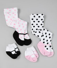 $9.99 Take a look at this Pink & Black Socks & Tights Set by Kyle & Deena on #zulily today!