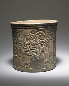 Late Classic, Maya (Chocholá style)  Carved vessel depicting birth of maize god, A.D. 600–900  Ceramic with traces of red pigment  ,Place made: Chocholá or vicinity, Maya area, Yucatán or Campeche, Mexico.