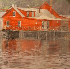 Seeing Red Marine on canvas, as seen from a boat on the South River, Marshfield, MA.   A favorite place.