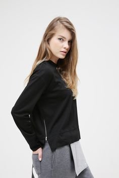 Zip Detail Top Black