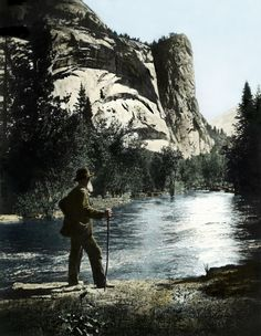 """John Muir in Yosemite Valley  Hand-colored by Bennett Hall, California  Some say the damming of Hetch Hetchy killed Muir, who died in 1914, the year construction on the Dam began. Others say the Dam rescued the Valley from an even worse menace of progress: the automobile.    """"Dam Hetch Hetchy! As well dam for water tanks the people's cathedrals and churches, for no holier temple has ever been consecrated by the heart of man!"""" —John Muir"""