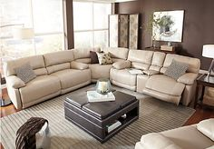 picture of Cindy Crawford Auburn Hills Taupe 3Pc Reclining  from Leather Sectionals Furniture