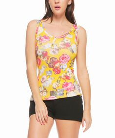 This Yellow & Pink Floral Button-Front Tank is perfect! #zulilyfinds