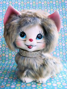 Kitschy Kat Cute Vintage Fluffy Kitty Cat Kitten Furr Covered Ceramic Figurine with Diamond Collar
