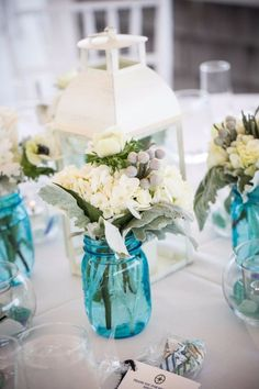 57 Best Blue Mason Jars Wedding Images Dream Wedding Getting