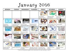 Free Printable Preschool Activity Calendar For January  Free