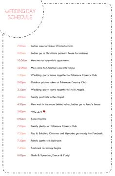 Wedding Day Schedule For Party And Family Members Designed By Jessica Kim