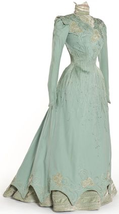 Dress  1898. Sublime detail and serene colour. How did they keep such dresses so clean. I don't think they ventured out much!