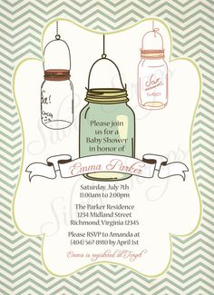 Vintage Mason Jar Custom Bridal Baby Shower or by silverscraps