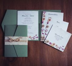 Beautiful floral wedding invitation. Pretty soft green pocket wallet, burlap and rustic string wrap