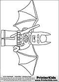 Coloring page with the popular Lego version of the DC Comics character Batman. This printable colouring sheet show the the Lego Batman character standing with a staff or weapon in his right hand, and with his bat wings spread out wide. Print and color this Lego Batman page that is drawn by Loke Hansen (http://www.LokeHansen.com) based on a Lego figure.