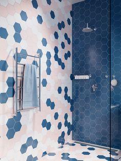 LiquidRed: Contrasting Colours - Just Like Basic Addition - SA Decor & Design Narrow Bathroom, Laundry In Bathroom, Master Bathroom, Hanging Bath Towels, Design Blog, Design Ideas, Interior Decorating, Interior Design, Moving House