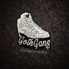 Goth Gang pin! Goth platform shoe pin inspired by 90's fashion, the Spice Girls & magic! Wanna join my gang? 💖  Coated with glitter and epoxy for long lasting glitter shine!  1.5 x 1.3
