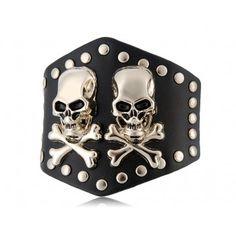 Silver-plated Skull Pattern Leather Bracelet