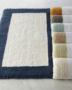 Tuscany Bath Rugs Thick Pile Bath Rugs With White Center And Colored Border.