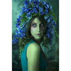 Large Blue Flower Headpiece Fairy Crown ($60) ❤ liked on Polyvore featuring home, home decor, blue home decor, outdoor home decor, fairy home decor, blue home accessories and outside home decor