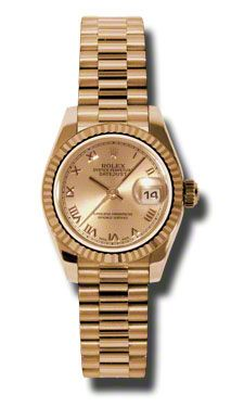 Rolex Watches - Datejust Lady - Gold President Pink Gold - Fluted Bezel - President - Style No: 179175 chrp
