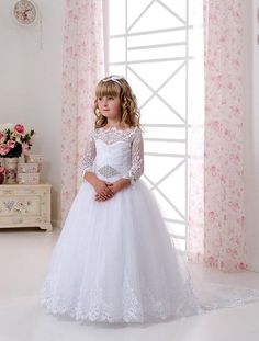 91ddc525048 A-line Lace Long Sleeves White Flower Girl Dress with Beaded Belt Lace  Appliques White First Communion Dress for 2-14 Girls Lace-up Back