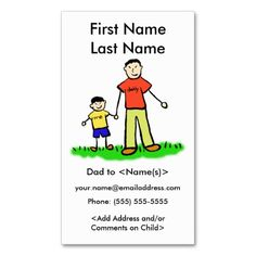 "#Asian Daddy and Son Custom #Family Calling Playdate Cards ~ #Daddy and me family features a father and son holding hands. The man's shirt reads ""daddy"" and the boy's shirt reads ""me"". The family is Asian with light skin. The father and son family characters art picture comes in multiple ethnic family options, as well as a plain no color drawing. The Daddy's Boy play date business cards contact information on the card front captures the parent's and child's name along with the parent contact…"