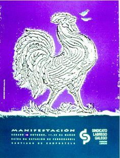 Cartaz con chamamento á manifestación para o Sindicato Labrego Galego. 1994