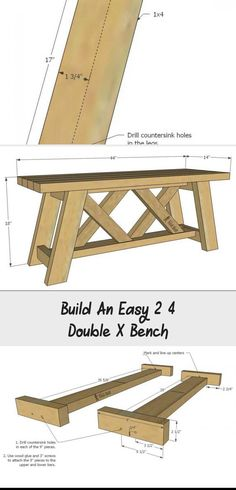 I'm making this cute bench for my porch! Build an easy double X bench from and with free plans. Wood Bench Plans, Diy Wood Bench, X Bench, Dining Bench, Rocking Bench, Pocket Hole Jig, Wood Surface, Wood Screws, Wood Glue