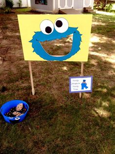 What a fun Cookie Monster's Cookie Toss activity at this Sesame Street Birthday Party! See more party ideas at CatchMyParty.com