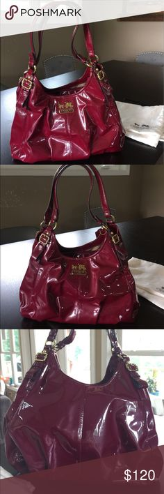 Coach K1169-18760 Madison Maggie Patent Bag EUC Burgundy. Authentic and in great condition. I've tried to show any scuffs in the photos. There are pen marks on the interior lining. Comes with dust bag but the drawstring is broken, so I've just tied it. Lots of pockets, front and back pockets with snap closure, and center pocket with zip closure. Coach Bags Hobos