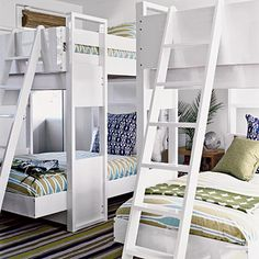 Bunking It Compromise with the kids by creating an upscale bunkroom with the sophisticated colors and prints you love combined with the fun beds they'll love. This modern update on the classic bunk bed style is more sculptural, yet sturdy and compact with plenty of room for sleepovers.
