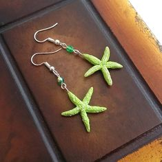 Lime starfish earrings handmade from polymer clay double Handmade Necklaces, Handmade Gifts, Peppermint Sticks, Starfish Earrings, Bottle Charms, Sliding Knot, Chocolate Color, Polymer Clay Creations, Summer Jewelry